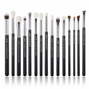 Jessup T177 Lot de 15 pinceaux de maquillage professionnels, outils cosmétiques, pour eyeliner, ombre à paupières, manches en bois naturel, poils synthétiques noirs et argentés