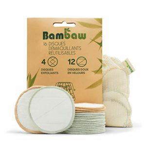 Lingette Démaquillante Lavable | 16 disques démaquillants bambou | Coton Demaquillant Lavable | Tous types de peau | Disque démaquillant lavable | Pads Démaquillant Réutilisable | Bambaw