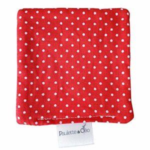 Lot X5 Lingettes démaquillantes lavables en Tissu Eponge Motif Petits Pois Rouges – Hygiène et Beauté | Paulette & Cléo