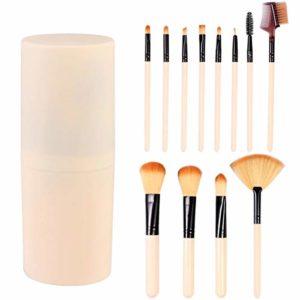 Lurrose 12 Pièces Ensemble de Pinceaux de Maquillage Pinceaux Cosmétiques avec Porte-Pinceaux Accessoires de Maquillage Cadeaux pour Filles Femmes Visage Yeux Lèvres Voyage Salle de Bain