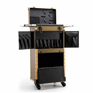 Mallette de train de maquillage avec porte-sèche-cheveux Chariot de coiffure Organisateur roulettes cosmétique Valise avec grande boîte rangement Chariot voyage salon beauté,D'or