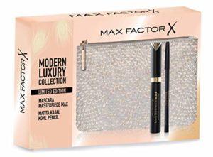 Max Factor Coffret cadeau moderne de luxe Mascara Masterpiece Max, Crayon Yeux Kajal Kohl Pencil et Pochette en velours Argent Gold