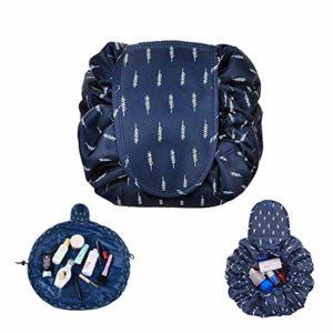 Mode Trousse Cosmétique,Drawstring Makeup Bag Trousse Maquillage Sac Cosmétique de Stockage Paresseux imperméable Cordon Voyage Trousse de Maquillage (Trousse de Toilette Bleu Plume)