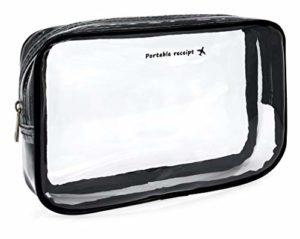 MyGadget Pochette de Voyage en Plastique Transparent pour Avion Bagage Cabine – Trousse Maquillage & Cosmétiques PVC Imperméable – Taille S