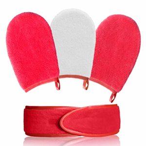 NOUMÉRO AquaGlove Démaquillant Visage Ultra Doux et Hypoallergénique 3 Gants démaquillants Lavable et réutilisable-Gant de Taille généreuse en Microfibre-avec 1 Bandeau de Maquillage (Rose Fushia)