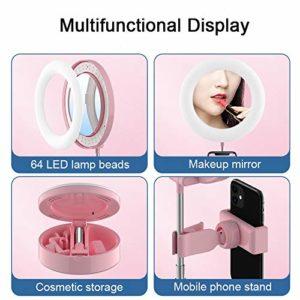OYPY L-E-D Bureau Miroir de Maquillage Annulaire Selfie Lampe réglable Brillant for Youtube TIK Tok en Direct Photographie Studio (Color : Pink)