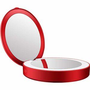 OYPY Mini Maquillage HD Round Portable Miroir L-E-D Lumière Bump Pliant Outil de beauté cosmétiques Voyage Mobile Power Bank USB facturable (Color : Red)