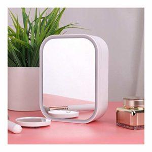 OYPY Miroir de Maquillage Multifonctionnel avec étui de Rangement M009 LED Miroir de Maquillage Portable Miroir Pliant de Bureau Simple Face Miroir (Color : USB Charging)