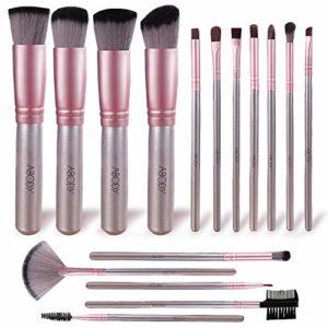 Pinceaux Maquillage Cosmétique, Abody 16pcs Professionnel Pinceaux Maquillage Set pour Liquide Poudre Crème Fond de Teint Concealer Eye visage, Synthétique Pinceaux de Maquillage, Rose