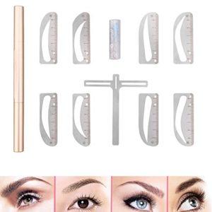 QJHP Sourcils Pochoir Trousse Permanent Maquillage Règle De Sourcil Symétrique Outil Règle D'équilibre du Shaper Acier Inoxydable Fournitures De Tatouage Shaper Sourcils