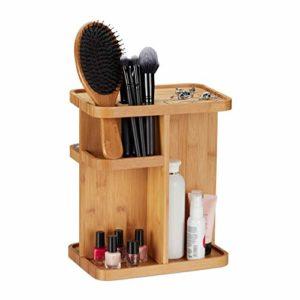 relaxdays 10022765 Organiseur à Maquillage en Bambou, Rotatif pour la Salle de Bain & la Coiffeuse, HLP 31×25,5×18 cm, Naturel, Plastique, Nature, 31 x 25,5 x 18 cm