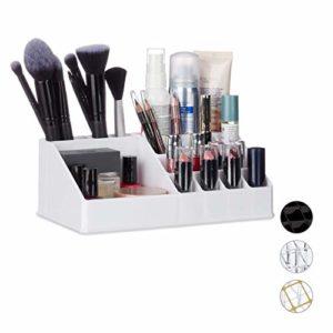 Relaxdays 10024644_49 Organisateur Cosmétique Acrylique Rangement Make-Up 16 Casier Maquillage Support Rouge à Lèvre Blanc, 8 x 22 x 12,5 cm