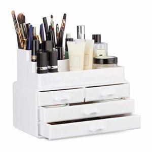 Relaxdays Organisateur cosmétiques 2 parties boîte rangement 4 tiroirs maquillage Make up, blanc