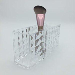Support pour pinceaux de maquillage – Rangement pour cosmétiques en acrylique transparent pour comptoir de salle de bain
