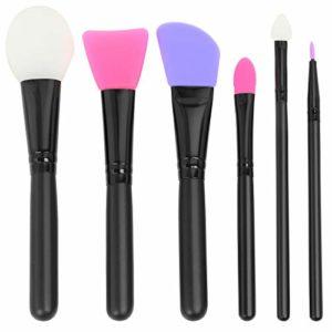 TRIXES Ensemble de 6 brosses à maquillage en silicone – palette mélangeuse de beauté – Nettoyage facile de la surface principale, liquide, poudre, fard à joues, lignes des lèvres