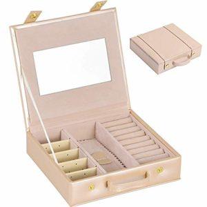 ZHANGYY boîte à Bijoux, boîte à Bijoux en PU, boîte de Voyage avec Miroir pour bagues, Boucles d'oreilles, Colliers, Bracelets et Montre, épingles à Cheveux Petite boîte Cadeau