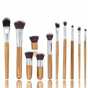 Zoë Ayla Ensemble de 11 Pinceaux de Maquillage Professionnel en Bambou Kabuki avec Sac de Voyage 1 Unité