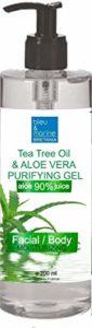 100% Natural Gel d'Aloe Vera à l'Arbre à Thé Purifiant et Hydratant – Excellent hydratant Visage & Corps Cheveux – Calmant Après Épilation – Flacon Pompe 200 ml