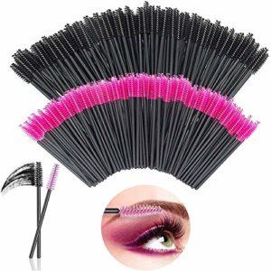 [200Pcs] Brosses à Cils Jetables, SlickMart Brosse Extension Cils, Plastique Applicateur Mascara Pinceau Brosse Pour Cil Sourcils Yeux Maquillage(Rose/Noir)