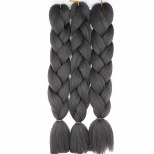 """24"""" Extensions Pour Tresse Jumbo Braid Kanekalon Extension Cheveux au Crochet Tressage synthétique Africaine Lot de 3 (Gris foncé)"""