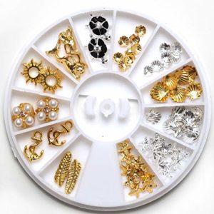 3D Grids Nail Art Décoration en Alliage Rivet AB Drill Manicure Charm Disc Glitter Goujons Ongles for Fille Accessoire beauté des Ongles Deco DIY pour Femmes Filles (Color : Multi-Colored)