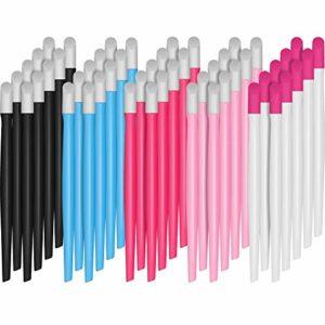 50 Pièces Poussoir à Cuticule d'Ongles en Caoutchouc Nettoyant d'Ongles à Poignée en Plastique Outils d'Art d'Ongles pour Hommes et Femmes (Bleu, Rose, Rose Clair, Blanc et Noir)