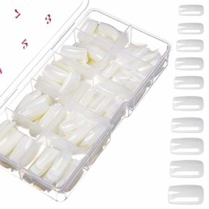 500 Pièces Faux Ongles Naturel Complet Artificiels de Acrylique avec Boîte pour Femmes Filles (10 tailles)
