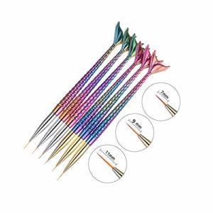6pcs Pinceau Nail Art Stylo de Dessin Cristal Acrylique Nail Art Peinture Dessin Ligne de Nylon Cheveux Outil de Manucure Peut êTre Utilisé Sur Le Brillant à LèVres Et L'Eyeliner.