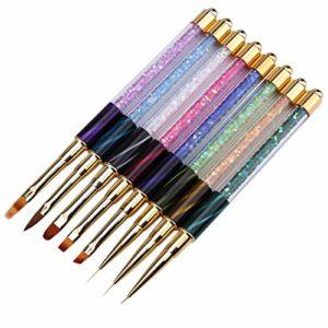 8PC à ongles Ombre Brosse Nail Art Stylo peinture Brosse Vernis gel UV Gradient Couleur Cristal Strass Ongles en acrylique Drawing Pen Peut êTre Utilisé Sur Le Brillant à LèVres Et L'Eyeliner.