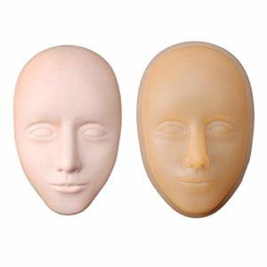 ACAMPTAR Protable Mannequin en Silicone Souple Modèle Tête Plate Pratique de la Pratique Maquillage Maquillage Formation Modèle Extensions de Cils Beauté