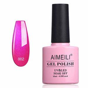 AIMEILI Soak Off UV LED Rouge Vernis à Ongles Gel Semi-Permanent Paillette Shimmer Gel Polish – Tutti Fruiti (002) 10ml