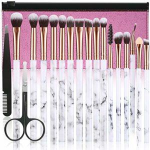 Allfy Lot de 16 pinceaux de maquillage synthétiques pour fard à paupières, sourcils, eyeliner, mélange, manche en marbre avec trousse de maquillage rose, pince à épiler, ciseaux pour le nez