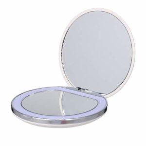 AQUW Miroir de Maquillage Mini Portable Maquillage LED Miroir de Poche avec la lumière Rechargeable Main Compact 1X / 3X Loupe Pliante de Maquillage (Color : White)