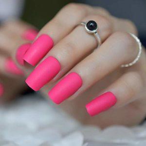 Autocollants à Ongles pour Les Filles Rose Chaud Rose Mat Faux Ongles Rose Rouge Gommage Faux Ongles Carré Top Nail Art Complet Astuce Presse Doigt Manucure Accessoires