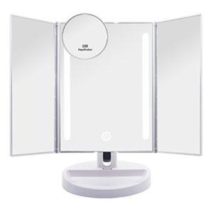 Auxmir Miroir Maquillage Eclairé avec 20 LED, Miroir de Table Lumière Eclairage Tactile Tri-Pli, Miroir de Toilette Rotation 180° pour Cosmétique avec Petit Miroir Grossissant x10