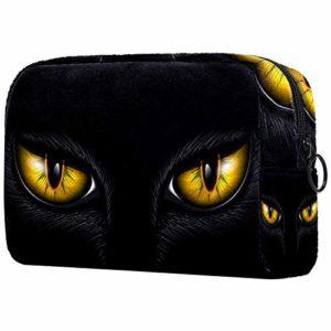 Bennigiry Yeux de chat jaune Grand sac de maquillage trousse de toilette voyage sac cosmétique pochette de maquillage portable pour femmes filles