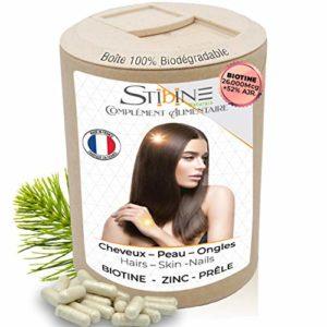 BIOTINE 26.000mcg + ZINC + PRÊLE +VITAMINES D, E.. | 120 Gélules | Protection, Équilibre & Pousse des Cheveux et des Ongles | Soin Réparateur Pour la Peau | Cure de 2 mois | Pack Éco Biodégradable