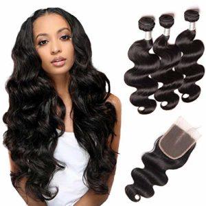 BLISSHAIR 3 Tissage Naturel Cheveux Humain Brésilien Tissage Bresilien en lot avec Closure Body Wave trame et closure Meche Perruque Humains Naturel Couleur (12 14 16 +10 inch)