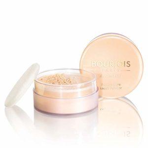 Bourjois – Poudre Libre – Fixe le maquillage sans dessécher la peau – Teint matifié et unifié – 01 Pêche 32gr