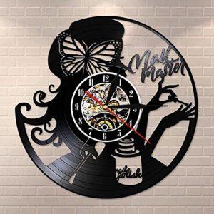 CHANGWW Nail Master Salon de beauté Art créativité LP rétro Vinyle Horloge Murale Faite par rétro manucure Salon de beauté Logo Nail Technician Business