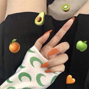 chenche Autocollants à Ongles pour Filles Tête Pointue 24 Pcs Couverture complète Presse Gommage tempérament Frais Orange Faux Gommage Ongles Ongles Portables