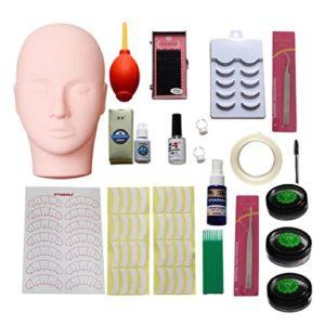 Chengyida Mannequin d'entraînement Tête plate Maquillage des cils Practise Extensions de cils kit Outil de maquillage Pratiquer