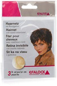Efalock Filets pour Cheveux avec Caoutchoucs Ronds Blond Clair x3
