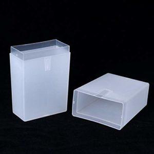 ELYQNNN 1 pièces boîte de Rangement Rectangle en Plastique Vide Transparent pour Outil à Ongles/Foret/Pince à épiler/Brosse/fichiers/Outils de Maquillage conteneur d'affichage LA878 881