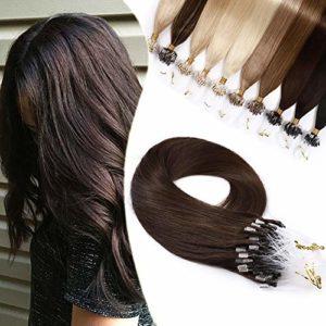 Extension à Froid Cheveux Naturel Micro Loop – Rajout 1g Vrai Cheveux Humain 50 Mèches (#4 CHATAIN, 50cm-50g)