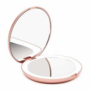 Fancii Miroir Lumineux de Poche, Grossissant 1x / 10x – LED Miroir à Main de Maquillage avec Éclairage Naturel, 12,7 cm de Diamètre, Compact et Portable pour Voyage (Or Rose)