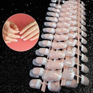 Faux ongles de courts et naturels, 240 PCS 12 tailles différentes, à simple coque,Naturel Manucure Ongles Nail Art Tip Décor Outils