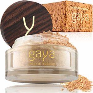Fond de Teint Poudre Minérale Vegan – Poudre Base Maquillage Fixante 4 en 1 Multifonctions Couvrance Totale, Anti Cernes, Poudre et Protection Solaire (Nuance MF2)