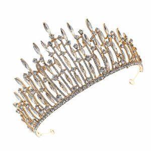 FRCOLOR Mariée Strass Couronne de Mariage Diadème Couronne Bandeau Cristal Couronne Bandeau de Mariée Coiffure pour Mariée Douche Cheveux Accessoire