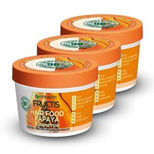 Fructis Hair Food Papaya Masque Réparateur 3 en 1 avec Formule Végane pour Cheveux abîmés 390 ml
